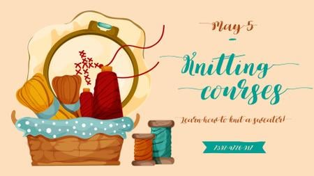 Handmade Event announcement Sewing Tools and Threads FB event cover Design Template