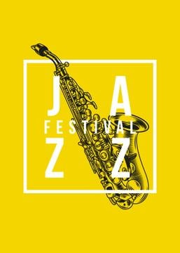 Jazz Festival Invitation Saxophone in Yellow | Flyer Template