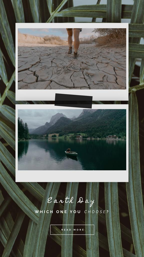 Earth Day Snapshots with Desert and Scenic Lake | Vertical Video Template — Создать дизайн