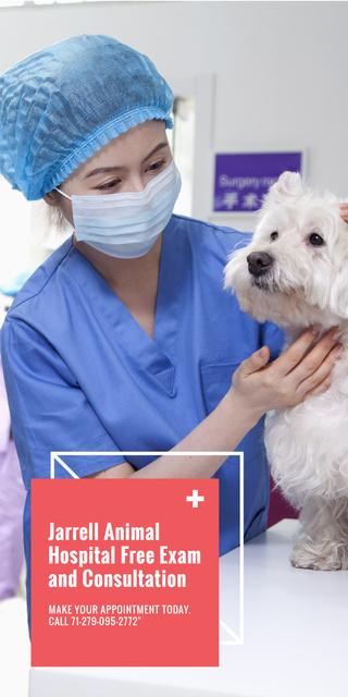 Vet Clinic Ad Doctor Holding Dog Graphic Modelo de Design