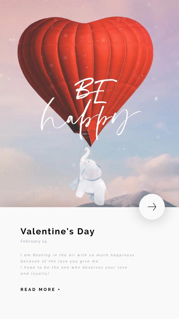 Elephant Flying on Valentine's Day Balloon — ein Design erstellen