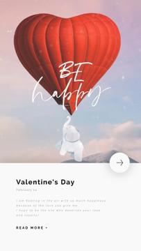 Valentine's Day Greeting Elephant Flying on Air Balloon | Vertical Video Template