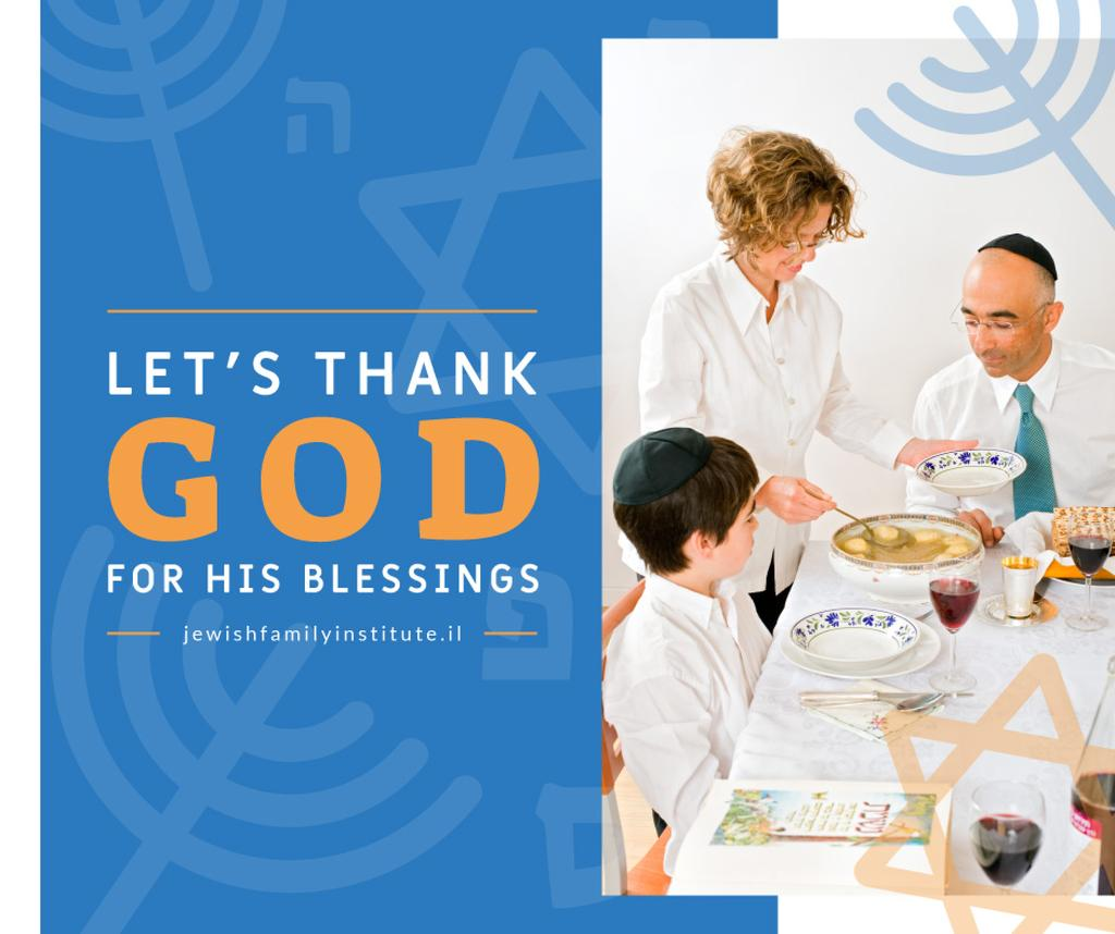 Template di design Family at Passover dinner table Facebook