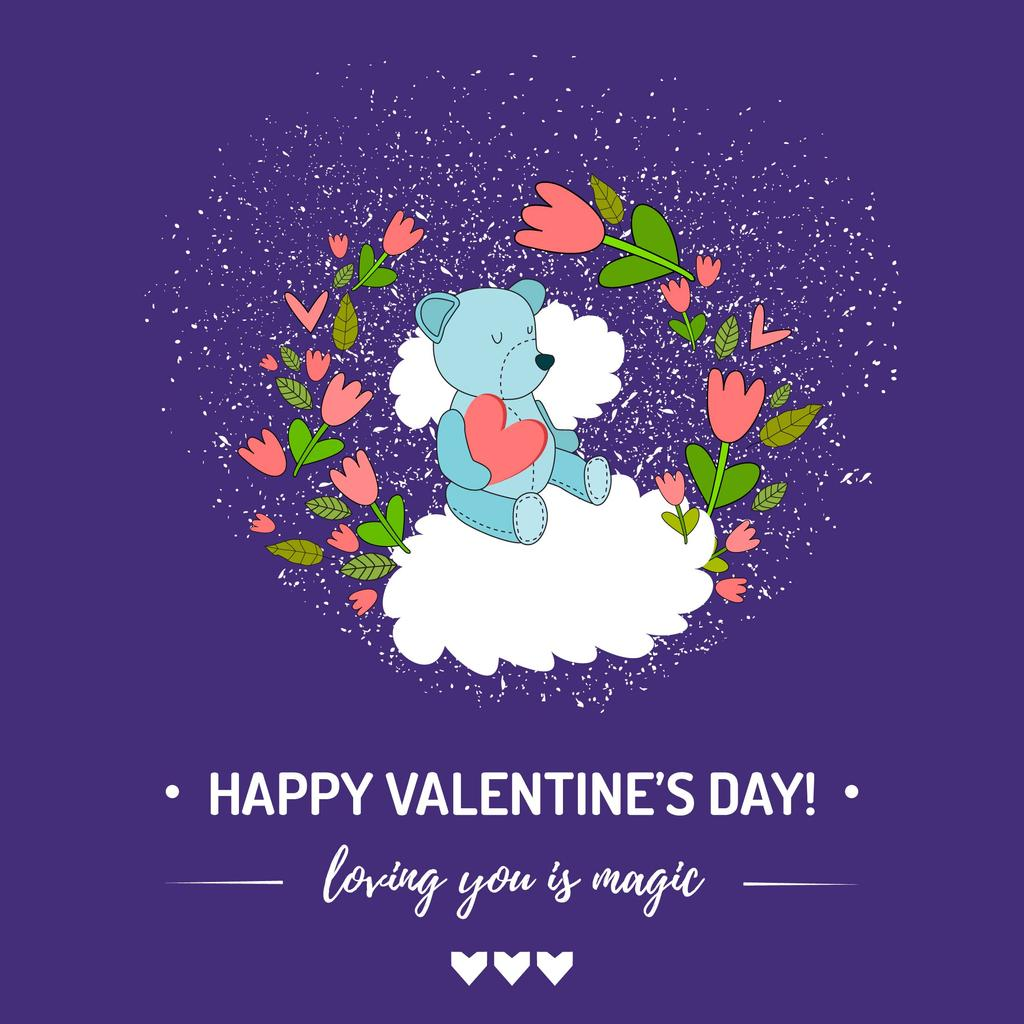 Valentine's Day greeting with Bear in flowers — Create a Design