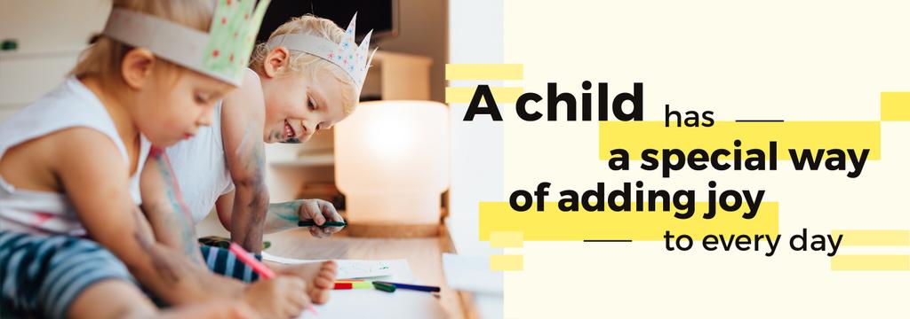 Childhood Quote Happy Kids Drawing — Modelo de projeto
