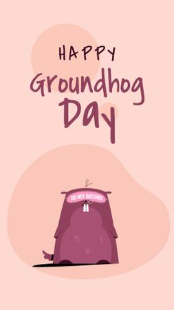 Happy Groundhog Day with Cute Animal Instagram Video Story Design Template