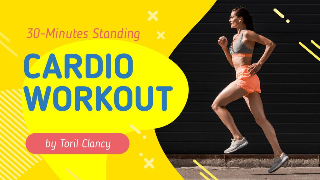 Szablon projektu Cardio Workout Guide Woman Running in City Youtube Thumbnail