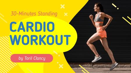 Cardio Workout Guide Woman Running in City Youtube Thumbnail Modelo de Design