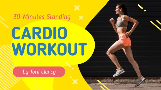 Cardio Workout Guide Woman Running in City Youtube Thumbnail – шаблон для дизайну