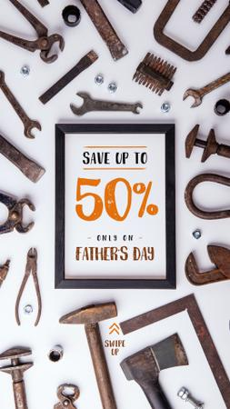 Modèle de visuel Fathers Day Offer with Rusty craftsman tools - Instagram Story