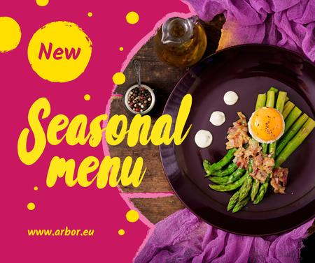 Seasonal Menu offer with green asparagus Facebook Modelo de Design