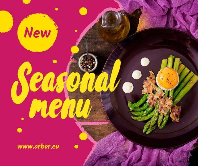 Template di design Seasonal Menu offer with green asparagus Facebook