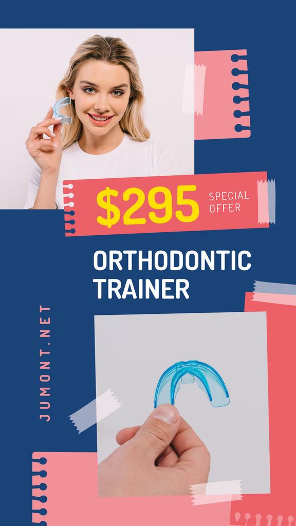 Dental Clinic Promotion Woman Holding Trainer - Bir Tasarım Oluşturun