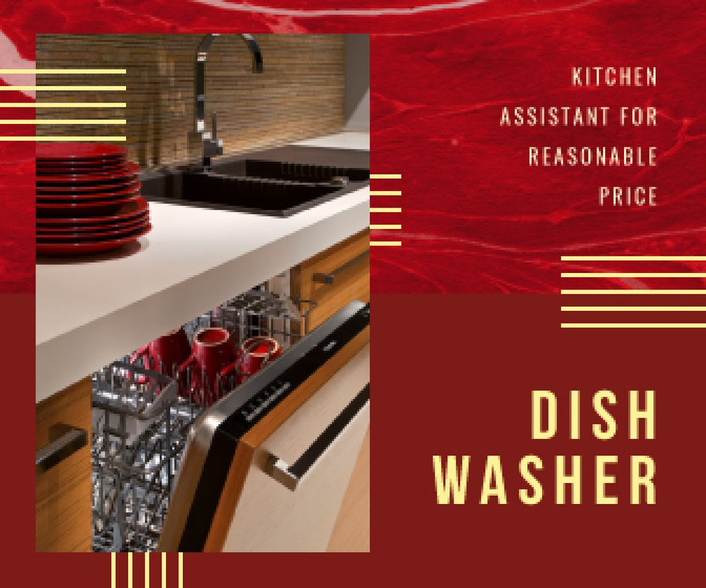 Dishwasher Offer Clean Dishware in Red | Large Rectangle Template — Maak een ontwerp