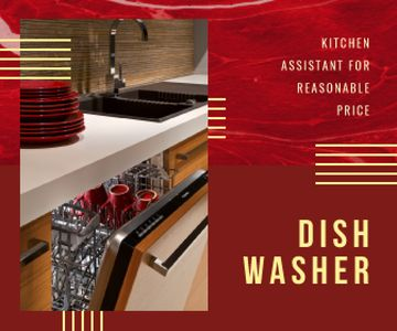 Dishwasher Offer Clean Dishware in Red | Large Rectangle Template