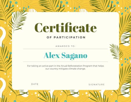 Plantilla de diseño de Reforestation Program Participation gratitude Certificate