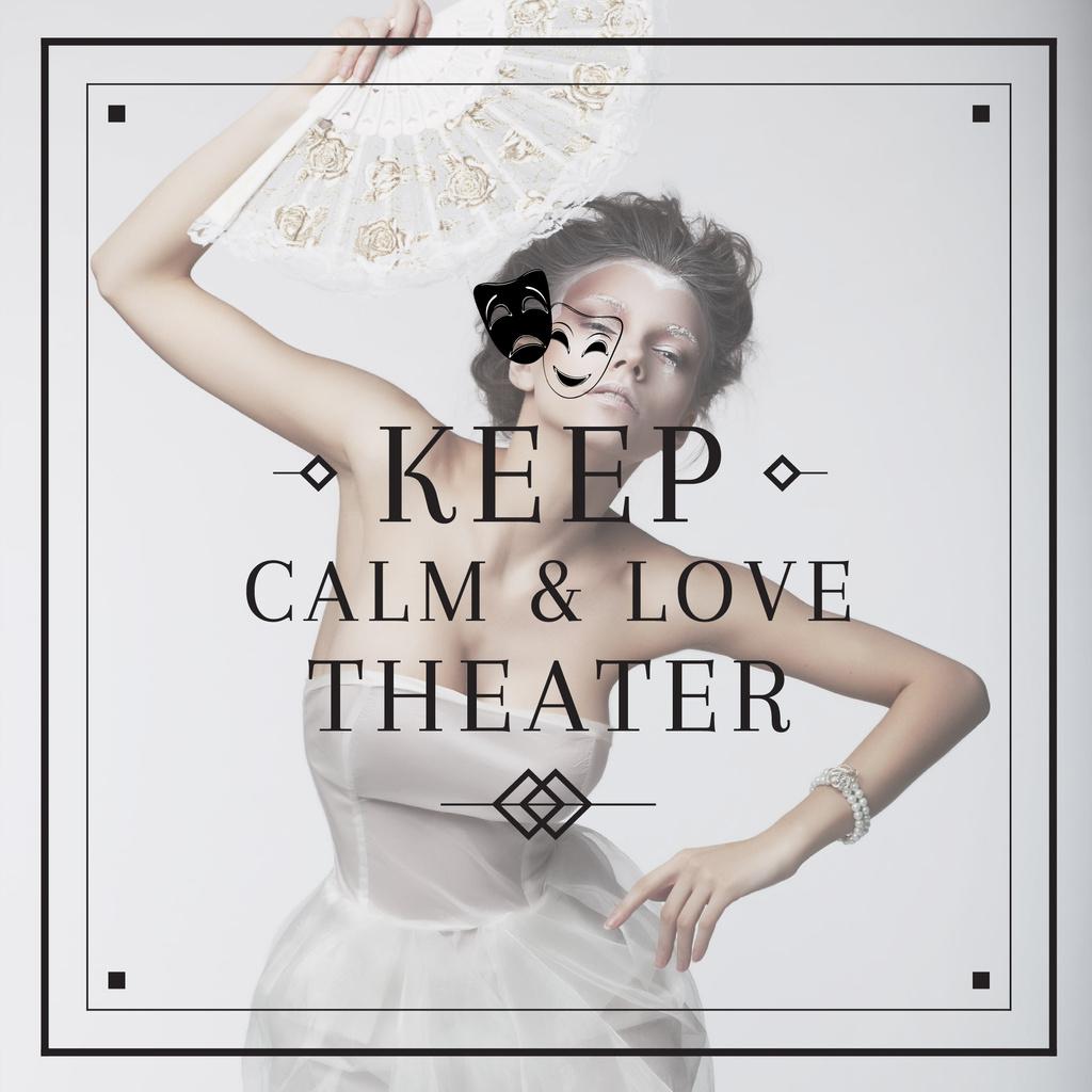 Theater Quote Woman Performing in White — Crea un design