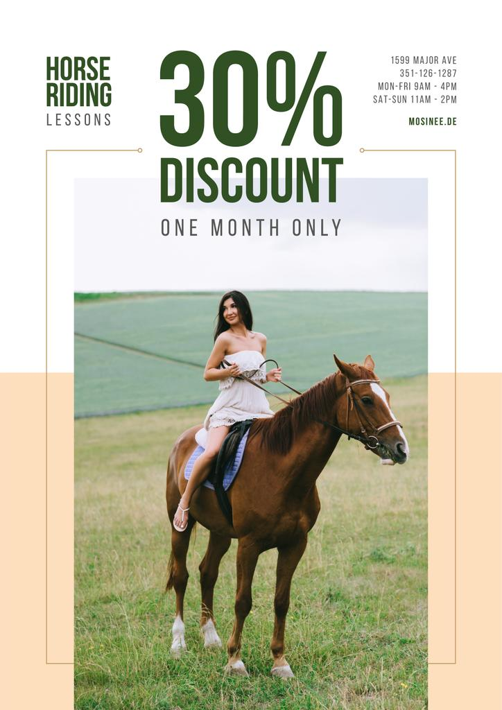 Riding School Promotion Woman Riding Horse — Create a Design
