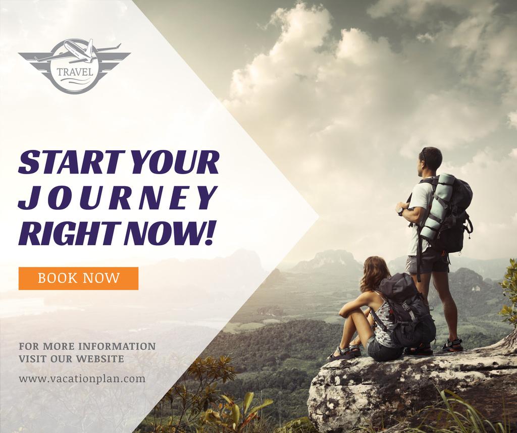Hiking Tour Sale Backpackers in Mountains — Modelo de projeto