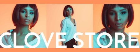 Szablon projektu Fashion Store ad with Woman in neon light Facebook cover