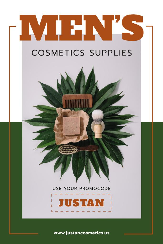 Men's Cosmetics Promotion with Wooden Tools in Green — Modelo de projeto