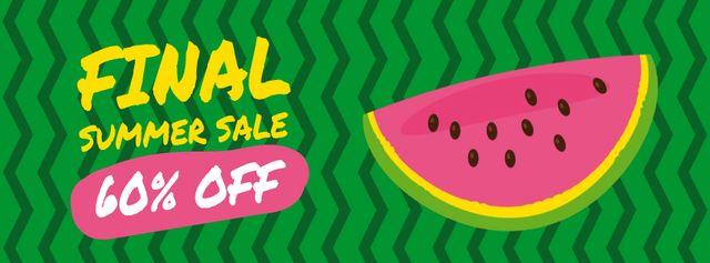 Summer Sale Ad Piece of Watermelon Facebook Video cover Design Template