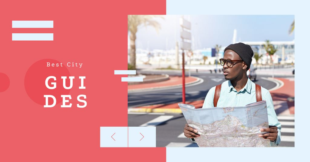 City Guide Man with Map on Street | Facebook Ad Template — Crear un diseño