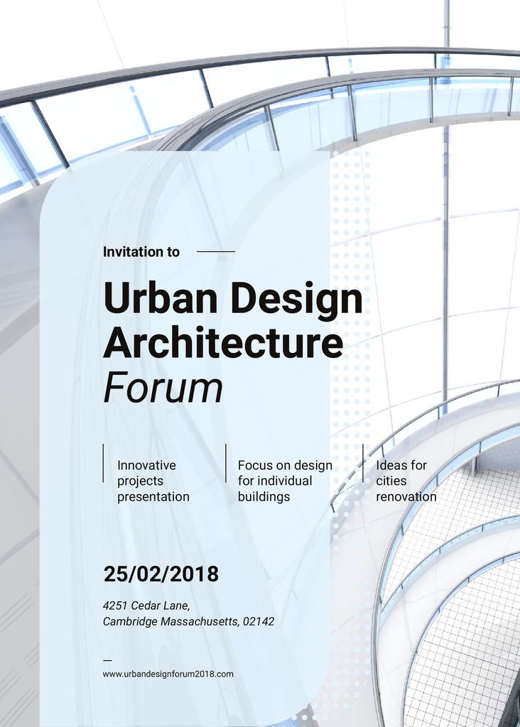 Stairs in modern building on Architecture Forum Invitation – шаблон для дизайну