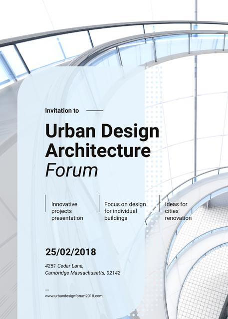 Stairs in modern building on Architecture Forum Invitation Modelo de Design