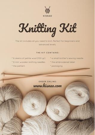 Knitting Kit Offer with spools of Threads Poster Design Template