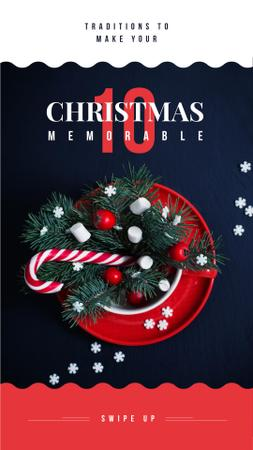 Christmas decor with candy cane Instagram Story Design Template