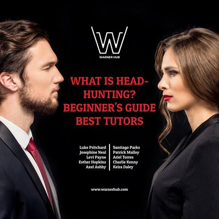 Plantilla de diseño de Headhunting guide event with Man and Woman Instagram