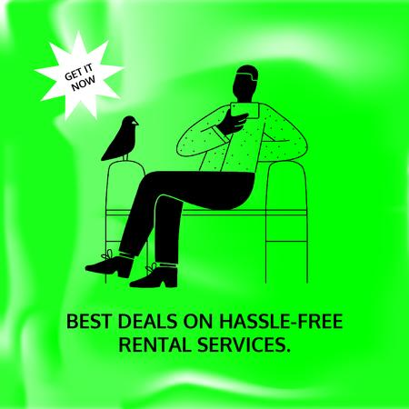 Rental Services Sale with Man and Bird Animated Post Tasarım Şablonu