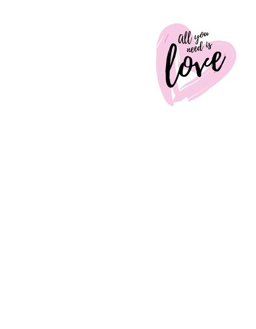 Ontwerpsjabloon van T-Shirt van Citation about Love with Pink Heart