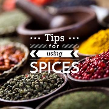 Close up view of bowls with spices and text tips for using spices