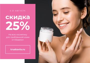 Skincare product Sale with Woman applying Cream