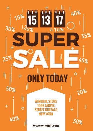 Store sale with Tags in orange Flayer Modelo de Design