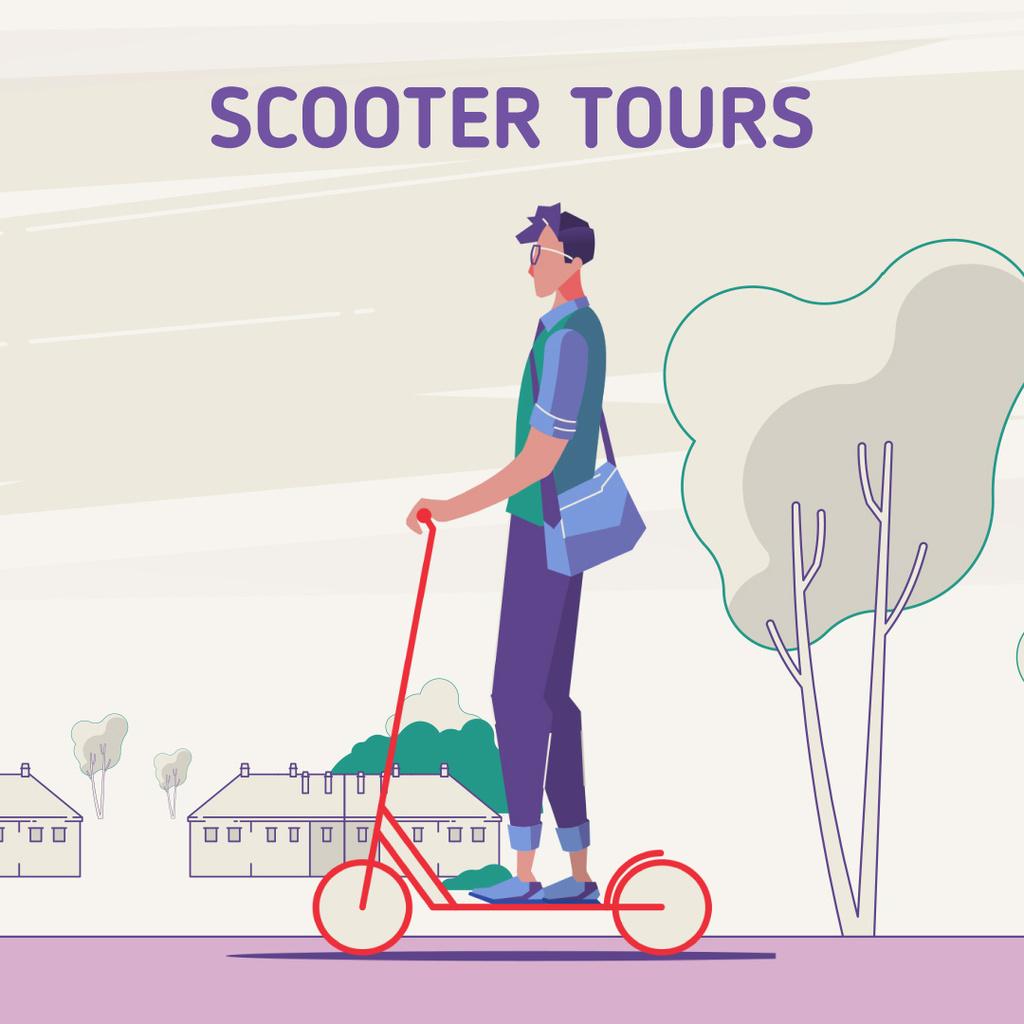 Man riding kick scooter — Modelo de projeto