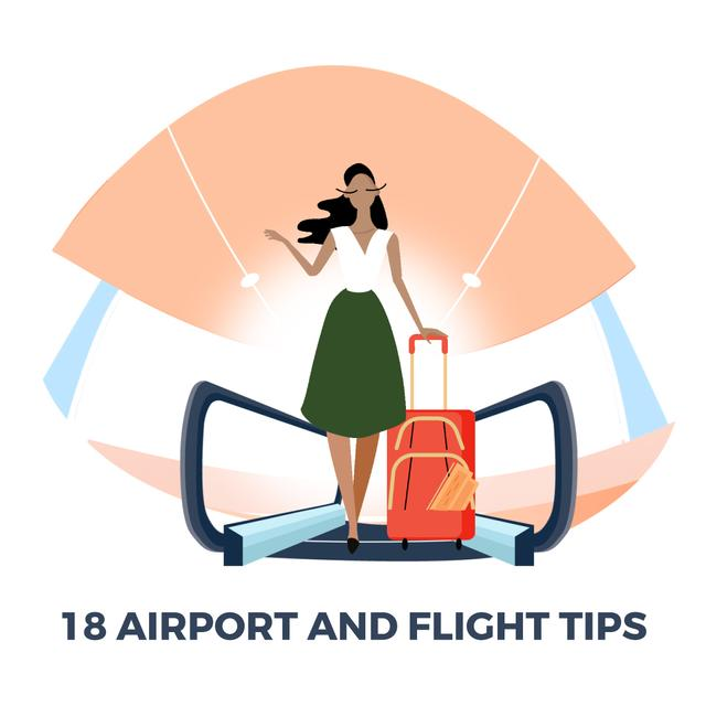 Girl with luggage walking in airport hall Animated Post Design Template