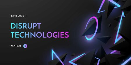 Digital Technologies ad on neon pattern Twitter Modelo de Design