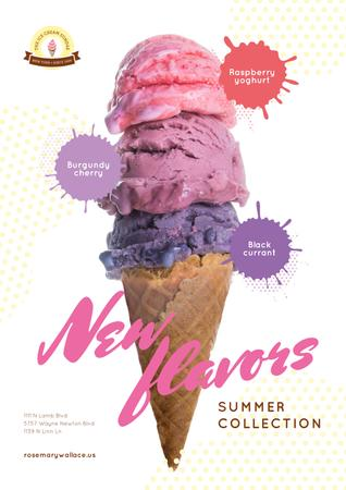 Template di design Ice Cream Ad with Colorful Scoops in Cone Poster