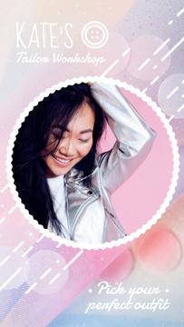 Fashion Ad Stylish Girl in Leather Jacket