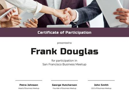 Business Meetup Attendance confirmation with Handshake Certificate Modelo de Design