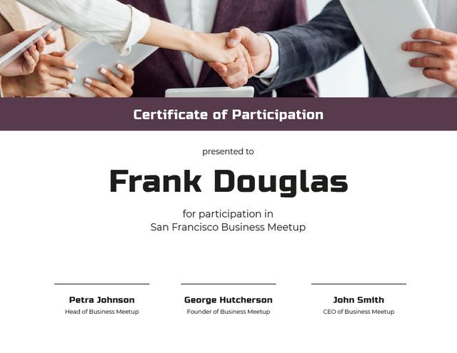 Szablon projektu Business Meetup Attendance confirmation with Handshake Certificate
