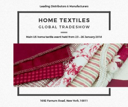 Ontwerpsjabloon van Large Rectangle van Home Textiles Event Announcement in Red