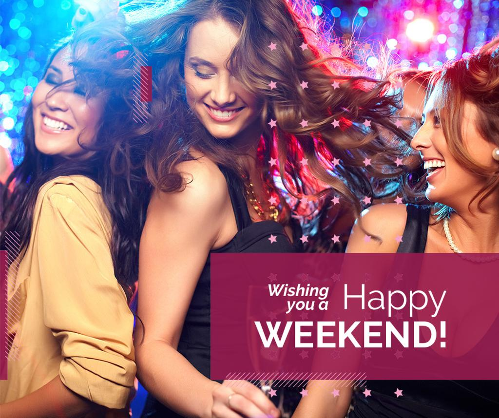 Weekend Party Invitation Women Dancing in Club | Facebook Post Template — Створити дизайн