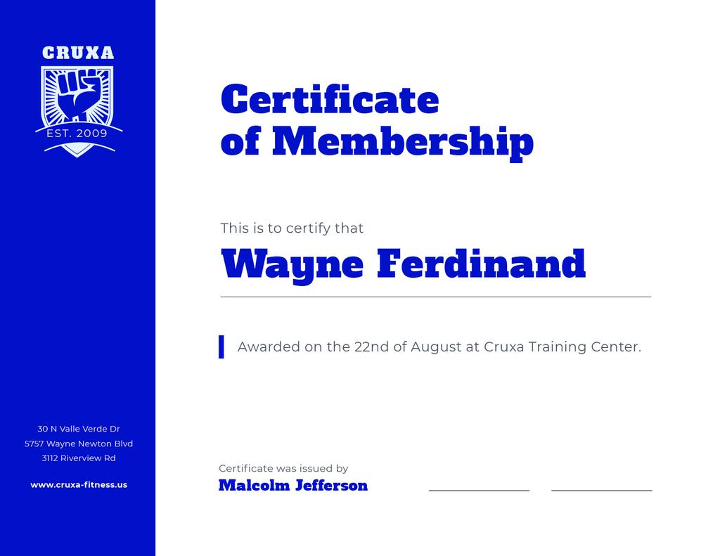 Modèle de visuel Training Club Membership confirmation in blue - Certificate