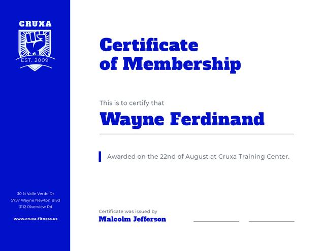 Modèle de visuel Training Club Membership confirmation in blue - Certificate