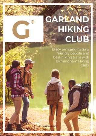 Plantilla de diseño de Hiking Club Gathering Backpackers by Scenic River Poster