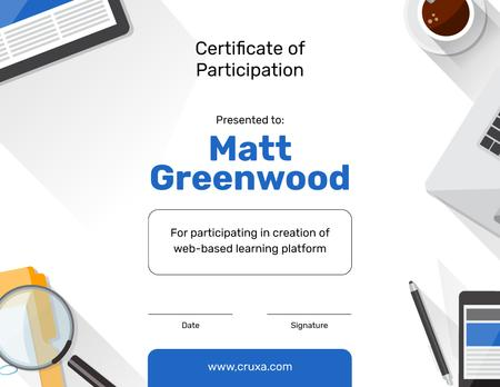 Template di design Online Learning Platform Participation gratitude Certificate
